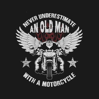 Mai sottovalutare un vecchio con un vettore di illustrazione di moto