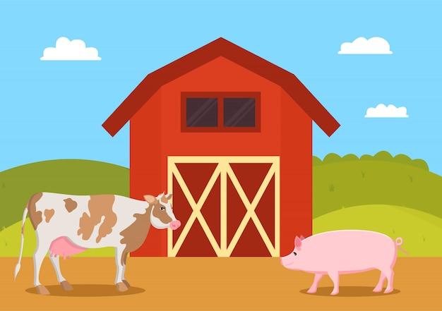 Maiale del maiale e della mucca sull'illustrazione di vettore dell'azienda agricola