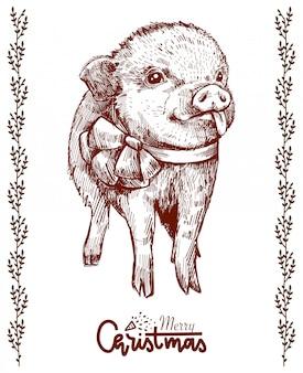 Maiale disegnato a mano bella con un inchino, mostrando la lingua. maiale natale hipster.