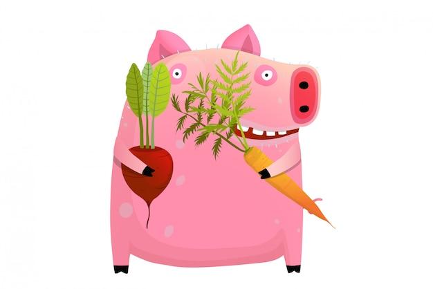 Maiale grasso che mangia dieta di verdure astuta