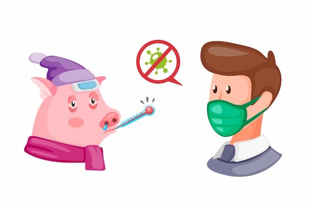 Maiale malato con uomo indossare maschera. influenza del virus sulla prevenzione del maiale al simbolo umano di infezione nell'illustrazione del fumetto su fondo bianco