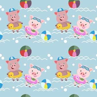 Maiali carini nuotano nel modello di piscina senza soluzione di continuità.