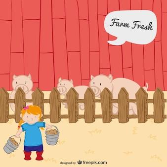Maiali nella fattoria vettore