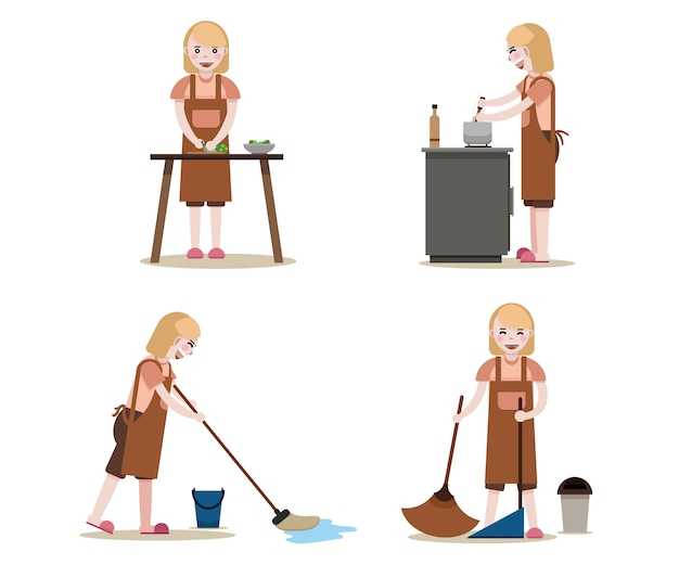 Maid lavoro insieme.