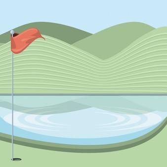 Maledizione del golf con scena di lago