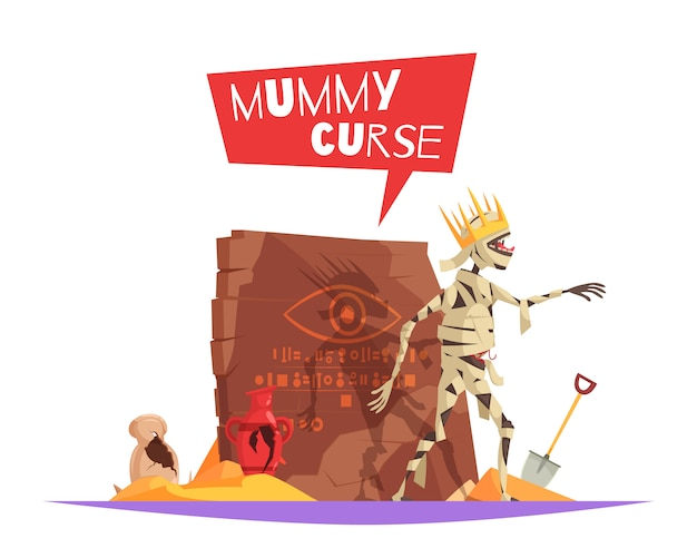Maledizione del personaggio malvagio dei faraoni che causa sfortuna composizione divertente cartone animato con mummia disturbata a piedi