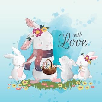 Mamma bunny e i suoi figli