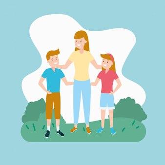 Mamma con figlio e figlia