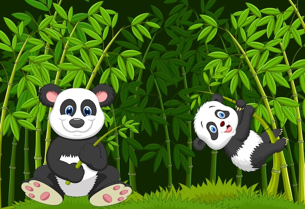 Mamma del fumetto e panda del bambino nell'albero di bambù rampicante