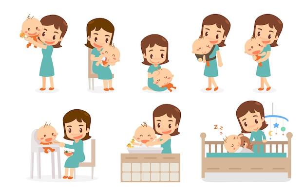 Mamma e bambino mamma e bambino in varie azioni