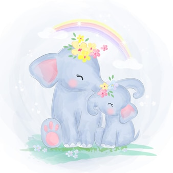 Mamma ed elefantino insieme
