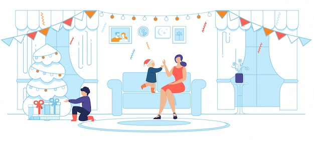 Mamma felice con bambini e festa di natale