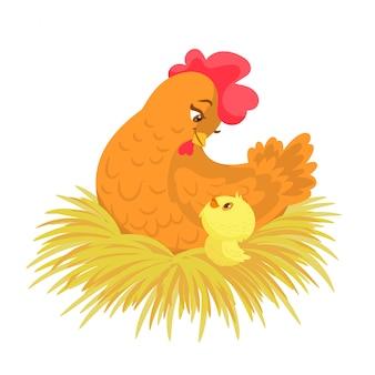 Mamma gallina con il suo pulcino