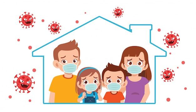 Mamma papà e bambino rimangono a casa durante la pandemia