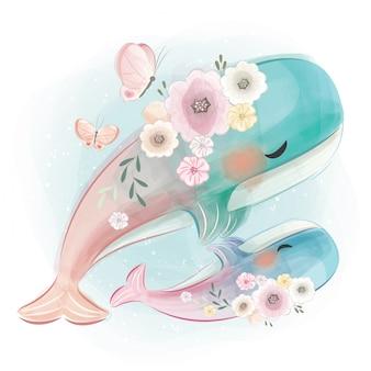 Mamma sveglia e balena del bambino che ballano insieme
