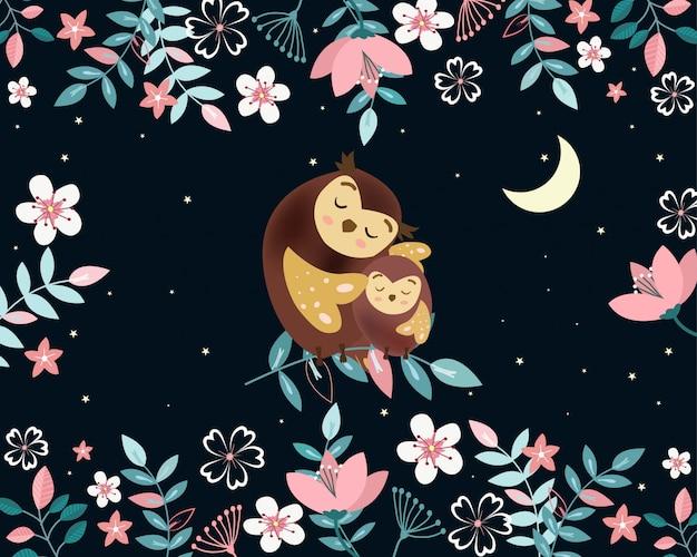 Mamma sveglia e gufo del bambino nel fumetto del giardino di notte.