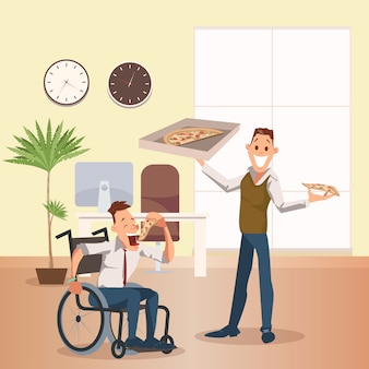 Man eat pizza at office. felice collaboratore disabile