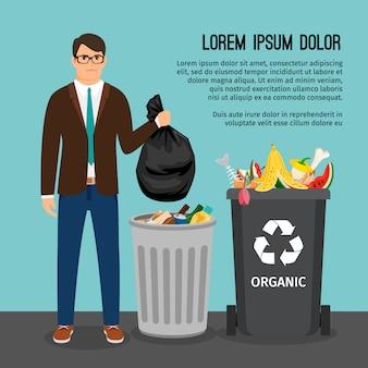 Man holding una grande borsa della spazzatura, vicino al contenitore della spazzatura