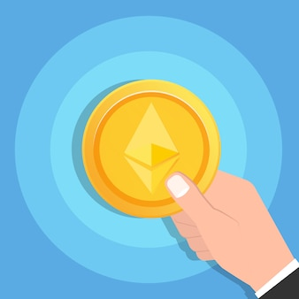 Man mano che tiene ethereum criptovaluta icona moneta d'oro. concetto di tecnologia blockchain. illustrazione vettoriale