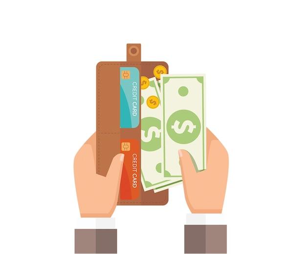 Man mano prendendo banconote dal suo portafoglio