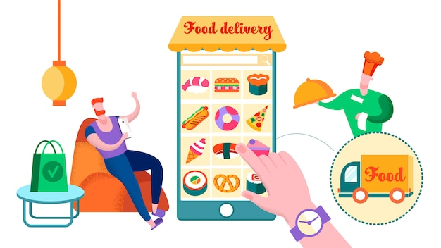 Man ordering restaurant food at home, delivery