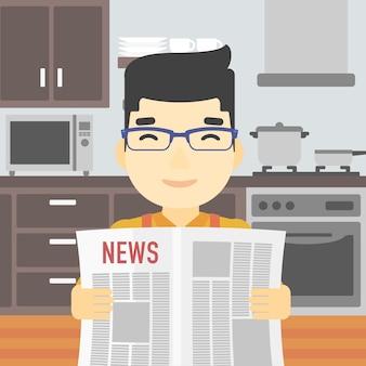 Man reading newspaper vector illustration.
