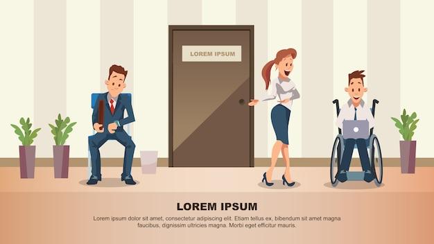 Man wait job interview at door