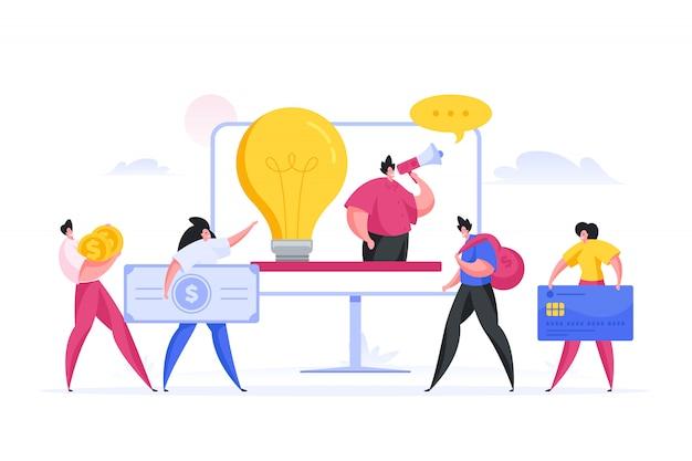 Manager idea pubblicitaria per gli investitori. illustrazione piatta