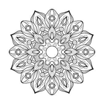 Mandala astratto in bianco e nero stile del profilo di arte