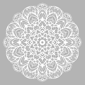 Mandala bianco con ornamento etnico