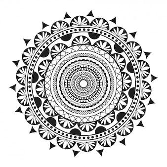 Mandala circolare design pattern utilizzato come mehndi o pagina da colorare antistress.