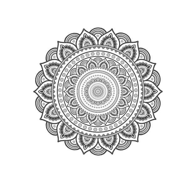 Mandala circolare isolata per hennè o tatuaggio