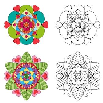 Mandala colorazione floreale e mandala fiore rotondo ornamento 2 stile colorato.