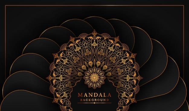 Mandala d'oro di lusso e sfondo reale