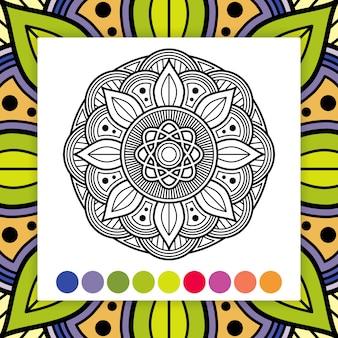 Mandala da colorare elemento decorativo asiatico, orientale