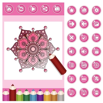 Mandala da colorare per adulti e set di matite colorate