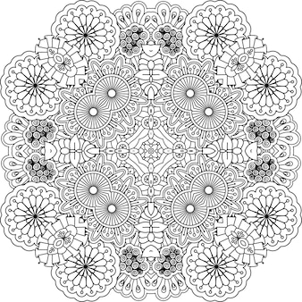 Mandala decorativo contorno floreale