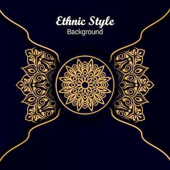 Mandala design in stile etnico di colore dorato