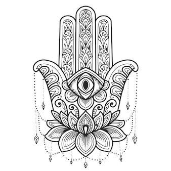 Mandala design. simbolo di hamsa