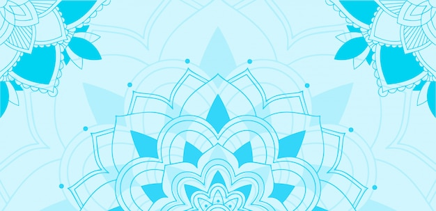 Mandala design su sfondo blu