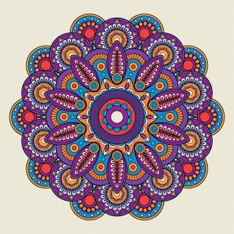 Mandala di boho hippie di doodle indiano