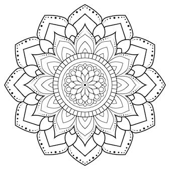 Mandala di contorno ornamento decorativo rotondo.