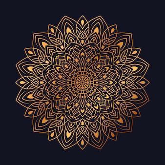 Mandala di lusso con disegno arabesco dorato in stile islamico arabo