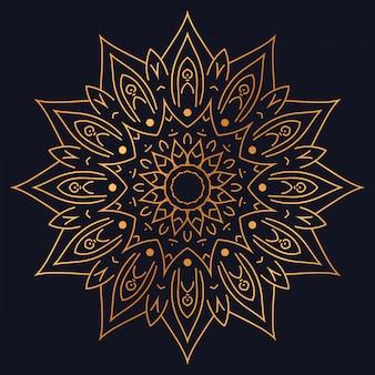 Mandala di lusso con disegno arabesco dorato stile arabo islamico orientale
