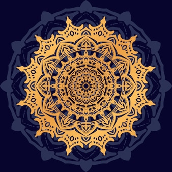 Mandala di lusso con motivo arabesco dorato stile arabo islamico orientale