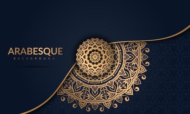 Mandala di lusso con motivo arabesco dorato stile orientale islamico arabo