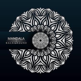 Mandala di lusso disegno vettoriale con stile arabesco argento