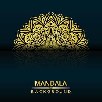 Mandala di lusso disegno vettoriale con stile arabesco dorato