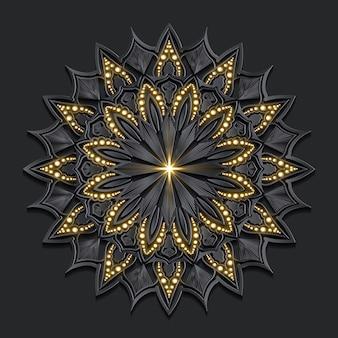 Mandala di lusso effetto dorato damascato scuro