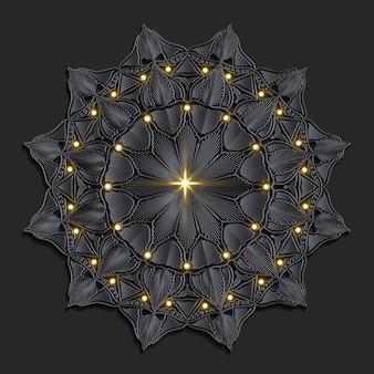Mandala di lusso scuro damascato sfondo orientale